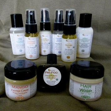 organic hair care starter kit with free travel bag for natural curls, coils & waves, has all 6 steps, 9 products to make your hair perfect