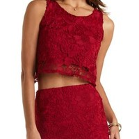 Floral Lace Swing Crop Top by Charlotte Russe