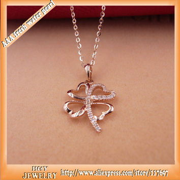 100% real 18K gold setting diamond Four Leaf Clover ncecklace pendants  jewelry speical offer with chain