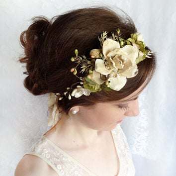 woodland wedding headpiece cream flower champagne by thehoneycomb
