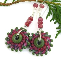 Pink and Green Whirlygig Lampwork Earrings, Boho Artisan Handmade Jewelry Gift for Women