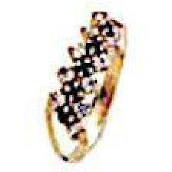CZ  RINGS 3TONE 18KTS OF GOLD PLATED RING