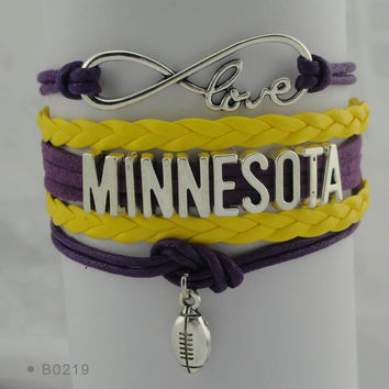 Infinity Love Football Bracelet - Minnesota Football