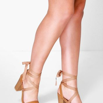 Ava Two Part Wrap Strap Block Heel
