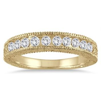 1/2 Carat Diamond Engraved Antique Band in 10K Yellow Gold