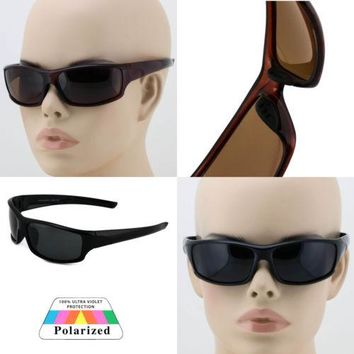 Mens POLARIZED Lens Sunglasses Wrap Around GAS Fishing Hunting Outdoor Glasses