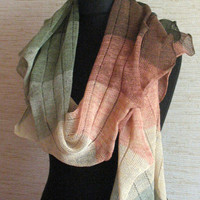 Linen Scarf Shawl Wrap Green Moss Beige Brown Striped Stole Light