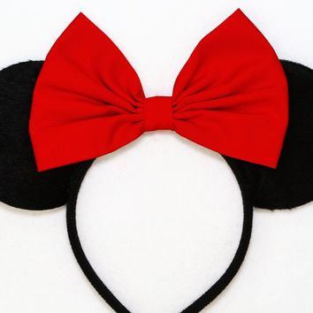 Black Minnie Mouse Ears with Red Bow