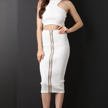 Ribbed Knit Crop Top With Rhinestone Midi Skirt Set