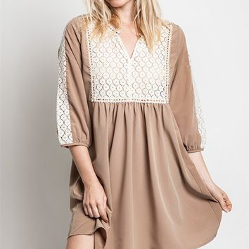 Umgee Taupe Baby Doll Dress with Lace Trim