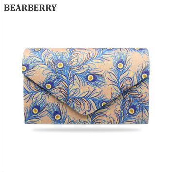 BEARBERRY 2017 new women clutch bags sequines peacock feather evening bags with chain wedding dinner bags drop shipping MN714
