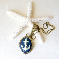 Anchor Cameo Necklace - Anchor Necklace  - Anchor Brooch