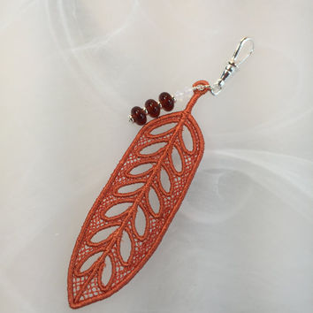 Keychain feather orange lace, lampwork glass beads, crystals