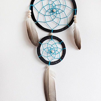 DreamCatcher, Boho Dreamcatcher, Black Dreamcatcher, Blue Dreamcatcher, Handmade, Wall Hanging, Home Decor, Feathers , Gypsy