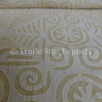 Handmade Applique Work Bed Cover, King Size Cutwork Bedspread, Designer Indian Cotton Bed Sheet, Yellow Color Theme, Made By Artisians