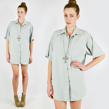 vtg 80s 90s grunge MINT green 100% SILK draped slouchy OVERSIZED button up dress shirt blouse top S M L