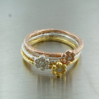 Trio of Stackable Diamond Flower Rings (Gold, Rose Gold and Silver)