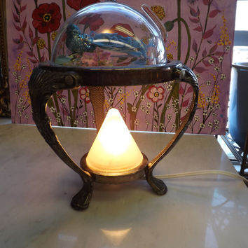 Glass Dome Cloche Globe Accent Night Light Table Lamp Victorian Inspired Vintage Base Keepsake