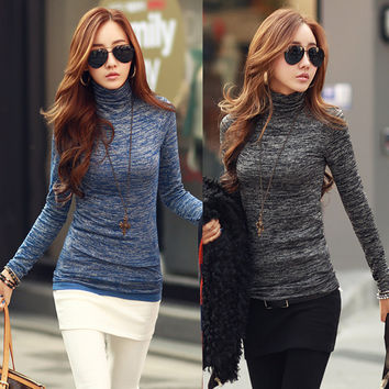 Women Winter Fashion Slim Sweater Top 2016 Solid Color Turtleneck Long Sleeve Bottoming Knitted Pullovers Sweater Jumper Shirt