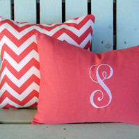 "Set of 2 18""x18"" coral, white chevron print, monogram-nursery pillow-college gift- decorative pillow cover-gifts under 40-throw pillow"