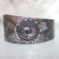 Black Steampunk Stamped Polymer Clay Cuff, enhanced with mica pigment powders ~ Vegan Handmade Jewelry