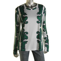Bibhu Mohapatra Womens Printed Crew Neck Casual Top