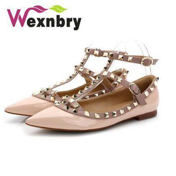 Fashion 2016 rivet t strap flat pointed toe single shoes rivet flat heel genuine leath