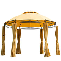 11-Ft. Yellow with Orange Steel Outdoor Large Patio Gazebo Canopy with Curtains