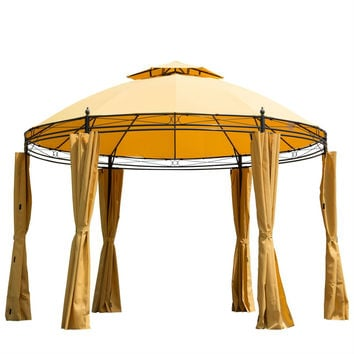 11ft Yellow/Orange Steel Outdoor Large Patio Gazebo Canopy with Curtains