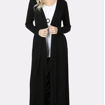 Long Black Sweater Cardigan Duster