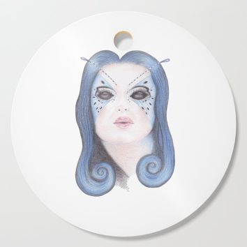 Blue Butterfly Girl Cutting Board by drawingsbylam