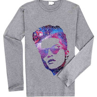 Bruno Mars Face Typography Galaxy for Long Sleeved Mens and Long Sleeved Girls T Shirt