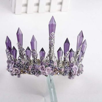 Purple Red Crystal Points Flowers Bridal Tiaras Crown Cosplay Jewelry Hair Accessories
