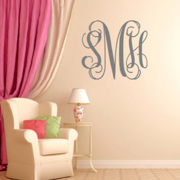 EXTRA Large Vinyl Monogram Custom Wall Decal - Monogrammed Wall Decal - Monogrammed Interior Sticker -  Monogrammed Gift