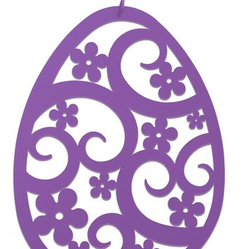 Wrought Iron Purple Easter Egg Decoration Hanging Silhouette