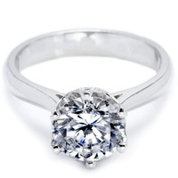 Women's Round Cut Solitaire CZ Stainless Steel Promise Wedding Engagement Ring