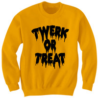 TWERK OR TREAT SWEATSHIRT HALLOWEEN COSTUMES TWERK SHIRT FUNNY SHIRTS HALLOWEEN STUFF SHIRTS WITH WORDS TWERK CLOTHES TRICK OR TREAT SHIRT