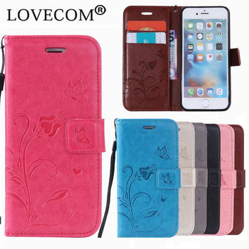 For Samsung A3 A5 J3 J5 J7(2015)(2016) S6 S7 Edge Case For iPhone 6 6S Plus Genuine Leather Magnetic Flip Wallet Rose Phone Case