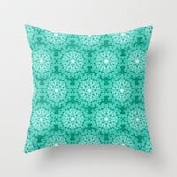 Aqua Scroll Throw Pillow by Dale Keys | Society6