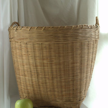 Huge Vintage Wicker and Wood Laundry Basket with Handles