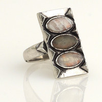 House of Harlow 1960 Jewelry Moonstone and Labradorite Ring