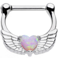 16 Gauge Steel Pinkish Synthetic Opal Heart Angel Wing Septum Clicker | Body Candy Body Jewelry