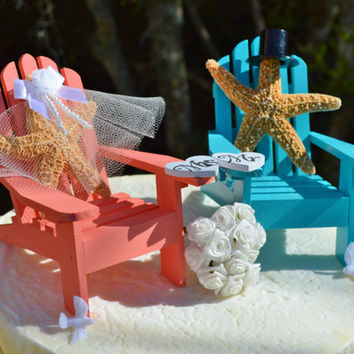 Wedding Cake Topper ~ Coral and Aqua Miniature Adirondack Chairs ~ Sugar Starfish Bride and Groom ~ Beach Wedding Decor ~ Cake Topper