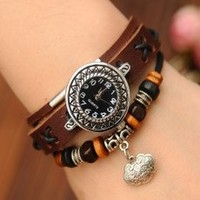 Girl watch with Black cystal and Silver lock with free bracelet