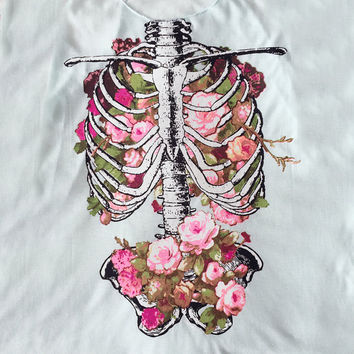 Floral Rose Rib Cage Tank Top in Mint - Women's Skeleton Rib Cage Tee Shirt - Floral, Rose, Skeleton Graphic Print Shirt - S, M, L