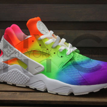 dedf73c93cfd0 Neon Vibes Nike Huarache Run Triple White from NYCustoms on Etsy