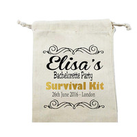 Personalized calico bag drawstring Survival Kit - Gift bag - Favor Bag - Bachelorette bag - Bachelorette gift- Bridesmaid bag - calico bag