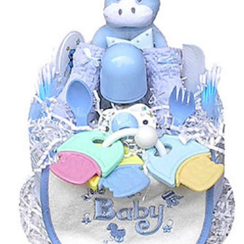 Babygiftidea Decorative Centerpiece Newborn Baby Shower Gift 1 Tier Boy's Diaper Cake