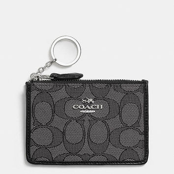 Mini Skinny Id Case in Signature Jacquard