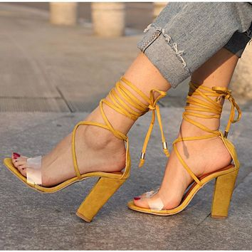 JoJo Super Strappy Clear Sandals with Chunky Heel 4 Colors